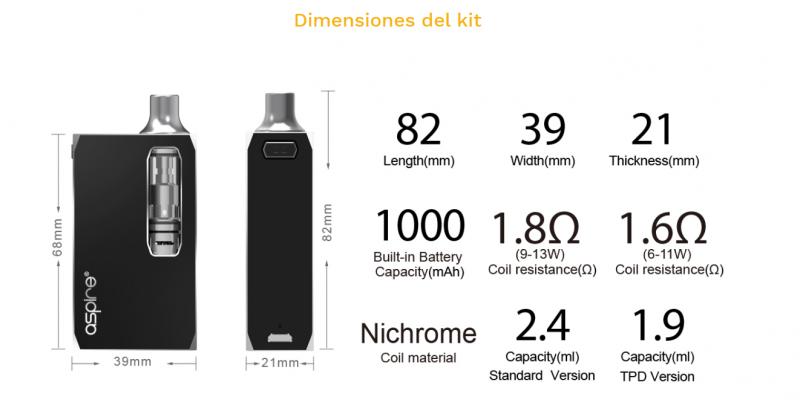 dimensiones aspire k1 kit que vapeo